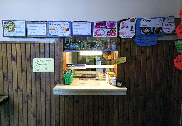 "Bar Mleczny Wilanowski / Wilanowski Milk Bar. yes! on the left ""naleśnikowa fantazja / pancakes fantasy""."