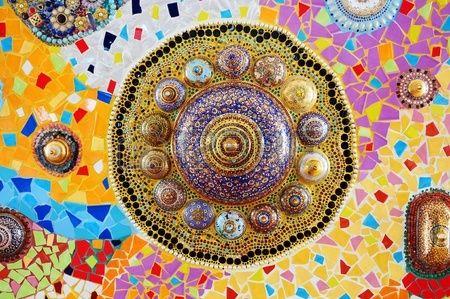 Bunte Glas Mosaik Kunst und abstrakte Wand Hintergrund Lizenzfreie Bilder