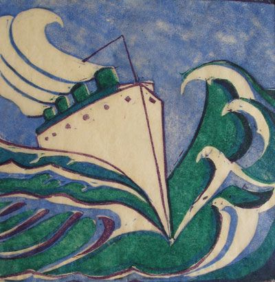 "Ursula Fookes (1906-1991) ""Liner"" Linocut possibly Titanic Robert Perera Fine Art Gallery of Lymington"