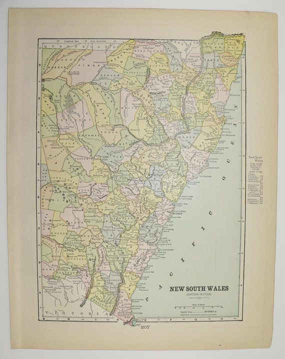 Antique New South Wales Map Vintage Old Queensland Victoria Australia 1898 Original Unique Travel Christmas Gift Under 20 Cyber Monday Sale by OldMapsandPrints