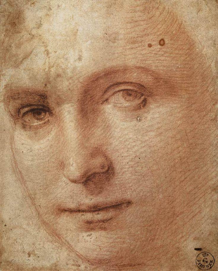 Raffaello Santi (Raffaello Sanzio, Rafael, Raffael da Urbino, Rafaelo)    Head of a Youth    1500s, red chalk on white paper, Galleria degli Uffizi, Florence