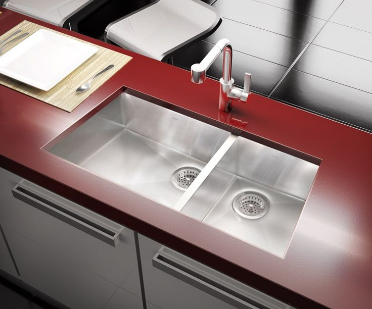 Stylish Red And White Kitchen With Modern Kitchen Sink By Julien /  Trapezoid Collection