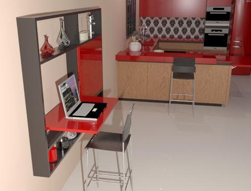 Mesa Abatible de Pared M6 empotrada en un mueble de salón hecha con Escuadras abatibles M6