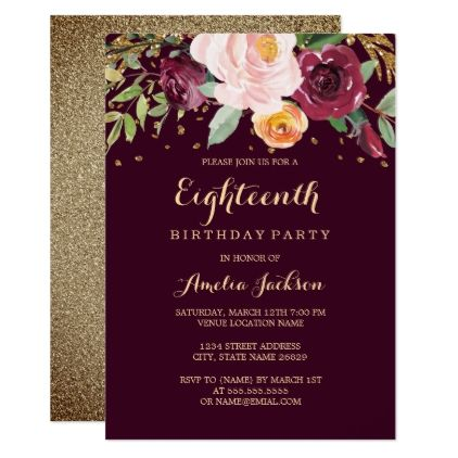 Burgundy Gold Floral Glitter 18th Birthday Party Card Invitations