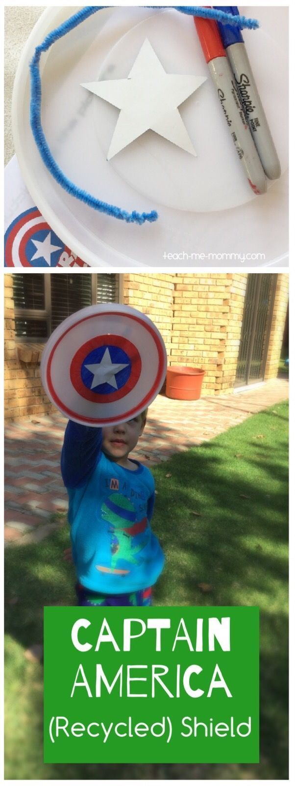 Captain America (Recycled)Shield from an old plastic lid! #captainamerica