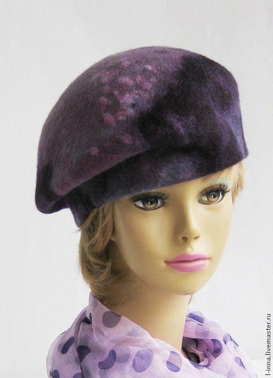 Купить Фиолетовые фантазии берет валяный - сиреневый, абстрактный, розовый, берет валяный, берет шерстяной
