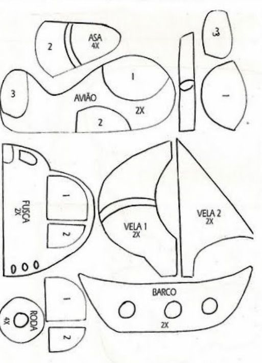 Car, airplane and boat pattern for little boys