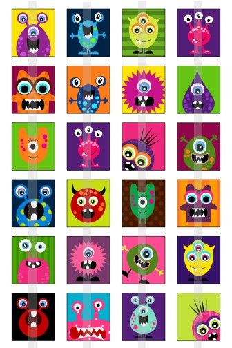 Monsters Head Shapes for monster texture lesson