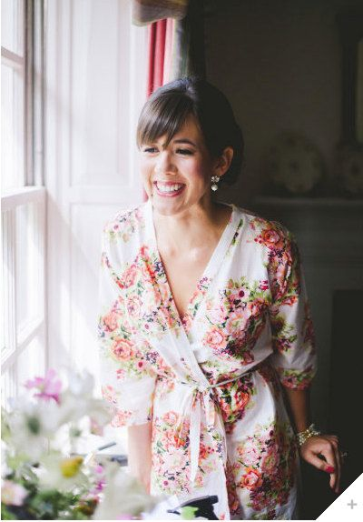 One Bridal Robe White Kimono Crossover Robe Perfect getting ready on your wedding day, make lovely pre-wedding photos, wedding favors on Etsy, $30.00