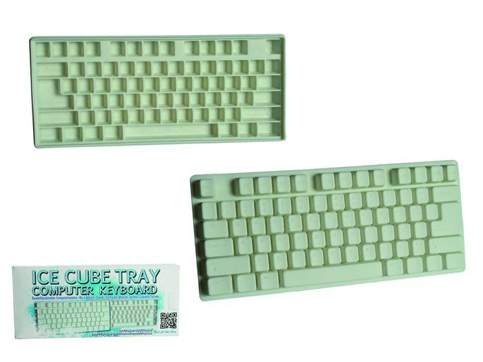 IJsblokjes tray toetsenbord. De computerverslaafde kan nu zelfs ijsblokjes in de vorm van toetsen in zijn/haar drankje krijgen. Maak ze van water of van ranja voor een kleurtje. Je kunt er 73 ijsblokjes mee maken in verschillende maten.