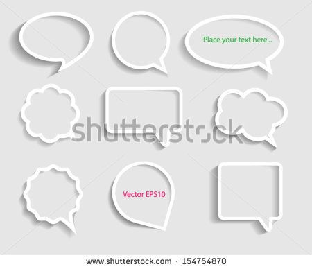 White paper Speech Bubbles Set. Vector eps10.