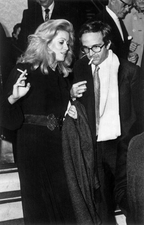 Catherine Deneuve in YSL with François Truffaut * 1970's Style.