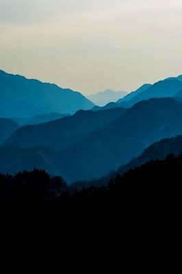 Blue mountains in the morning in China, photographer Pierre Eriksson. Beautiful landscape. Available as poster and laminated picture at printler.com, the marketplace for photo art.