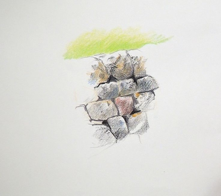 Get to grips with this stone wall in coloured pencils by Rob Dudley, part of the landscape course now available!