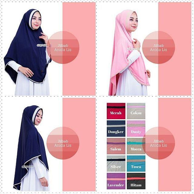 👑Jilbab Anida Lis👑    Jilbab syari non pet, dengan variasi lis kain di bagian wajah dan sekeliling jilbab. Cantik namun tetap syar'i. ----  Bahan : Jersey Zoya  ----  Ukuran : panjang sesuai gambar  ----  Berat : 275 gram  ----