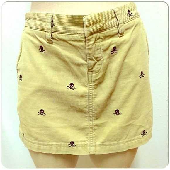 """Rugby RL tan corduroy skirt w/ skull & crossbones Rugby Ralph Lauren corduroy skirt w/ skull & crossbones embroidery. 100% cotton with 100% polyester decoration. Measurements - waist ~31"""", length 12.5"""" Ralph Lauren Skirts"""