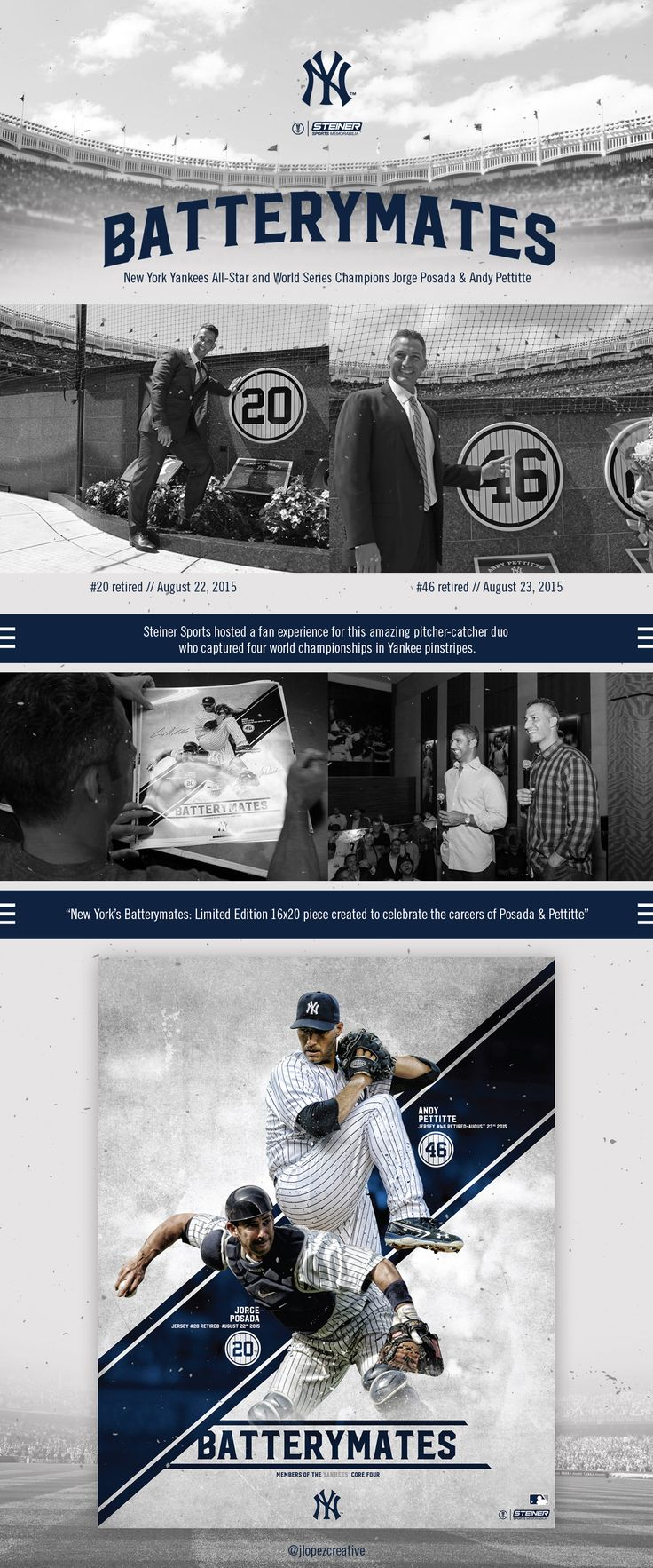 Limited Edition print for the pinstripe duo Jorge Posada & Andy Pettitte.