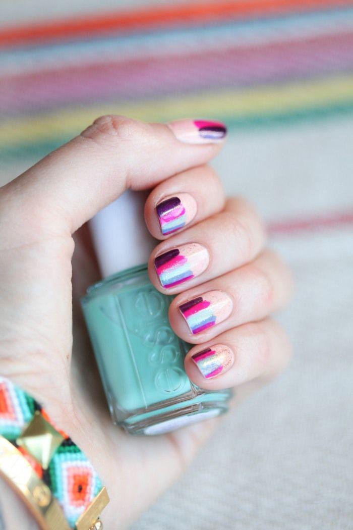 .Nails Art, Nailart, Spring Nails, Polish Nails, Colors Nails, Nails Polish, Big Tops, Stripes Nails, Nail Art
