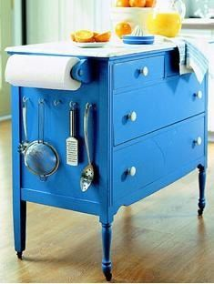 """dresser, painted at wheels and toilet paper roll and some hooks, makes a cute """"smaller island"""" love"""