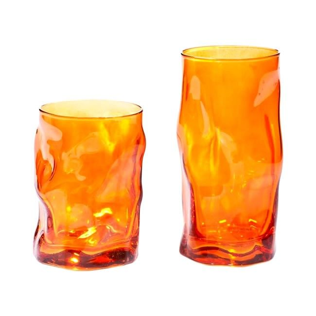 Σετ 12 τεμαχίων ποτήρια νερού - κρασιού sorgente , χρώμα πορτοκαλί , χώρα προέλευσης: Ιταλία, οίκος Bormioli Rocco.