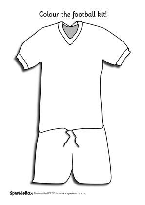 Football kit colouring sheet