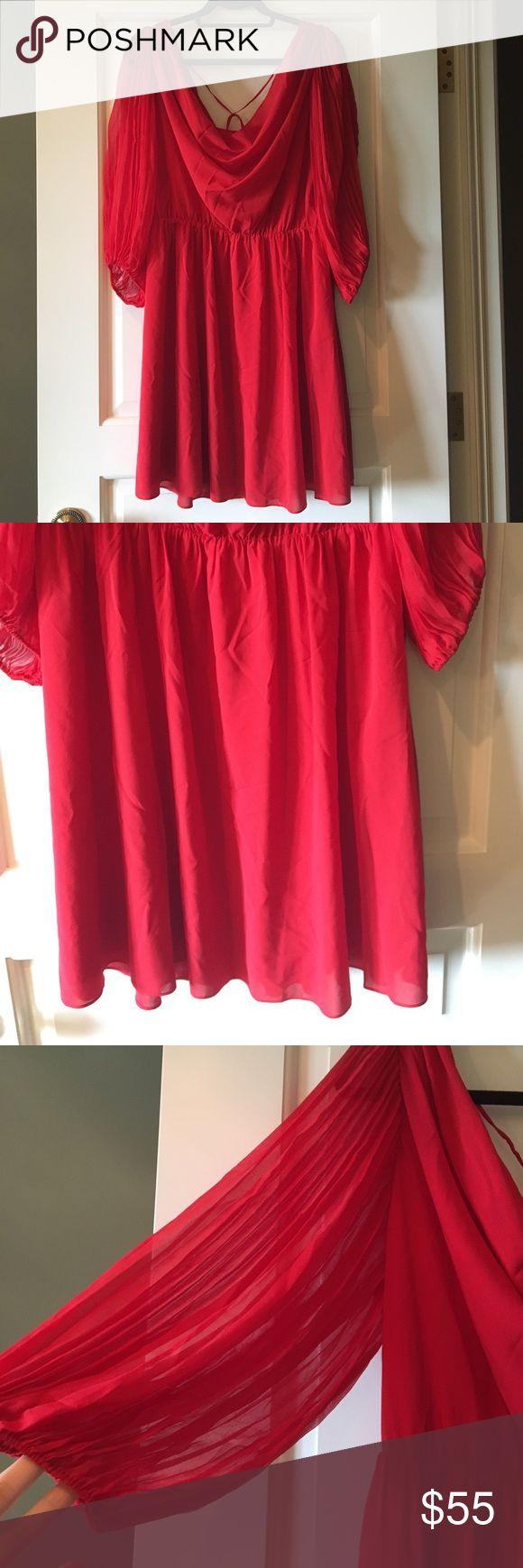 Alice + Olivia Red Chiffon Dress Alice + Olivia red chiffon, pleated sleeve, elastic waist dress! Fully lined, tie back along shoulder blades! Alice & Olivia Dresses