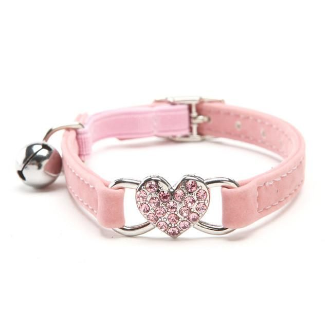 Coronary heart Small Pet Velvet Collar With Security Elastic – 5 colours