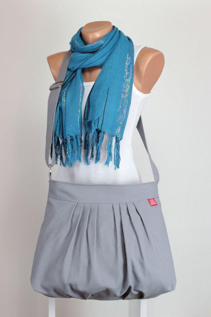 $37  Gray Bag, Fully Lined, Purse Bag, Pleated Bag, Washable Bag, Shoulder Bag, Gift Idea, Daily Use Bag, Crossbody Bag, Handbag, Canvas Bag by hippirhino