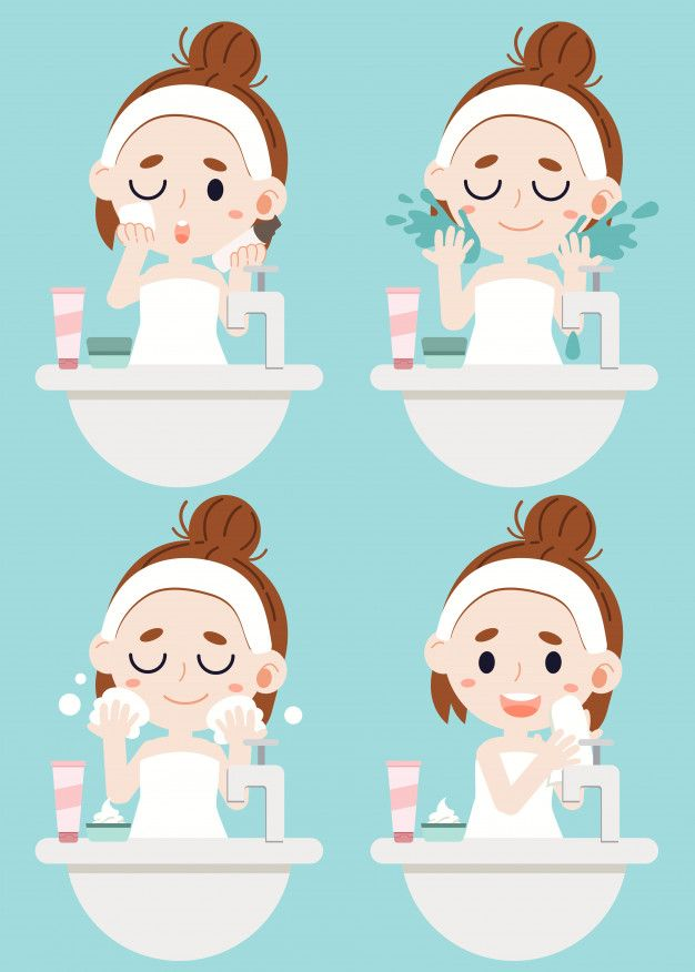 A Girl Cleaning Her Face By 4 Step Wipe Cosmetics By Sponge Use The Water For Cleaning A Face Cleansing Foam And Wipe Her Face With Cloth Tiendas De Belleza Cosmeticos
