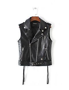 Kadın Orta Polyester Kolsuz Dik Yaka Sonbahar Solid Sade Günlük/Sade Siyah-Kadın Ceketler