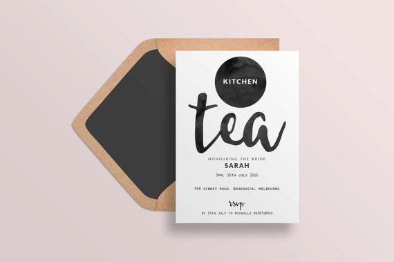 Kitchen tea invites, Kitchen tea invitation, Black and white, Bridal shower invitation, Hens invitation, Printable invitation, Bachelorette