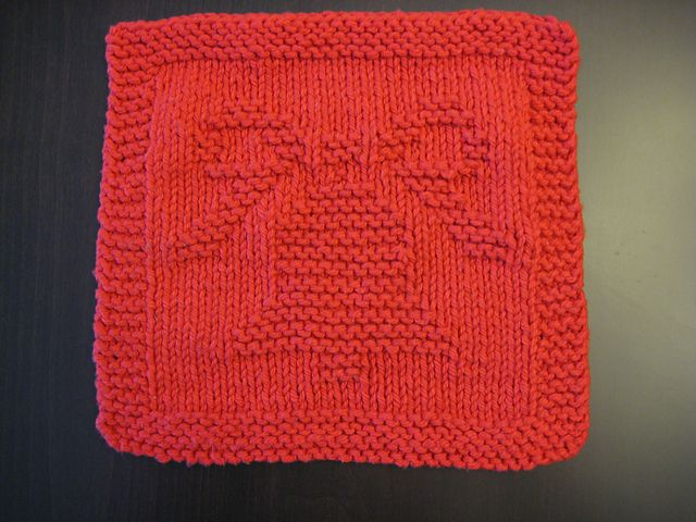 Free Pattern. Christmas Bell Knitted Dishcloth 2004 pattern by Melissa Bergla...