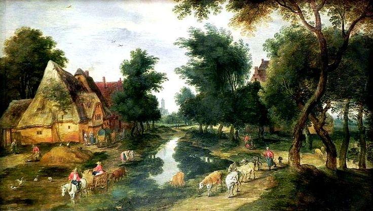 Jan Brueghel de Jonge (1601-1678) Boerderij met vijver