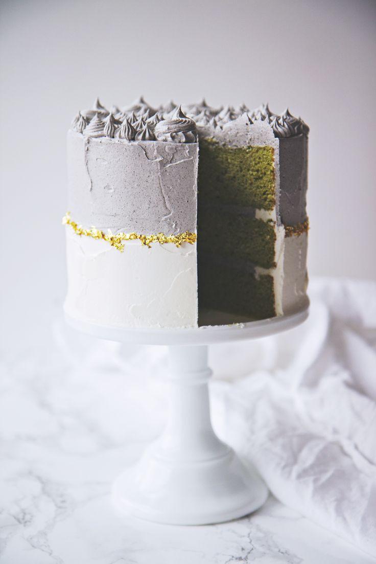 Black Sesame Matcha Cake | La Pêche Fraîche
