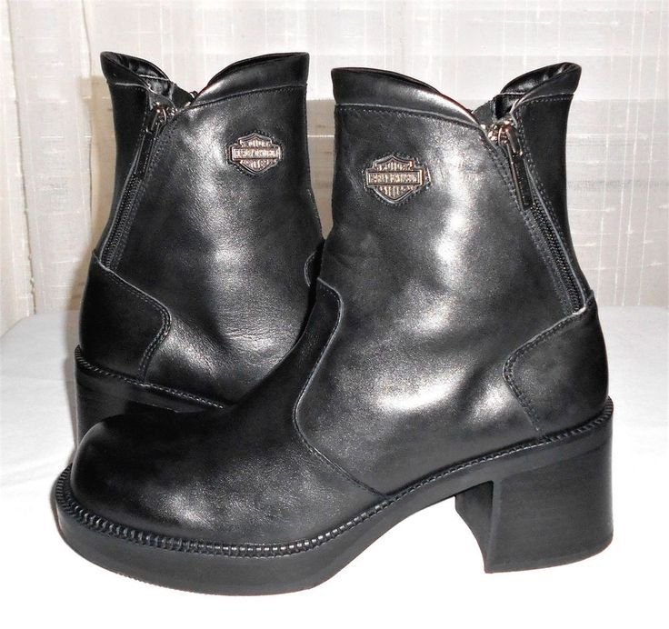 Harley Davidson Women's Black Leather Double Zip Motorcycle Ankle Boot US 9.5 #HarleyDavidson #MotorcycleAnkleBoot