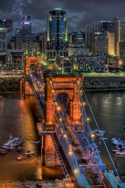 Roebling Suspension Bridge | Capture Cincinnati Photo Contest - Gotham City Awaits by Wolfgang Kreutzer