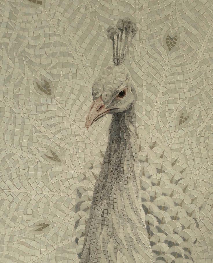 Mosaico Arte e Mestieri white peacock. #mosaic #peacock