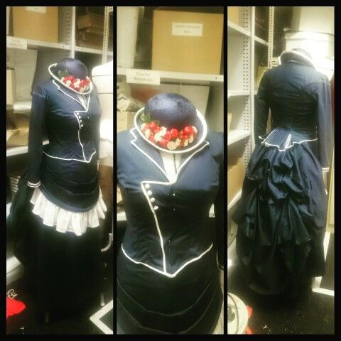Nearly complete nautical bustle gown with a victorian hat, both made by me