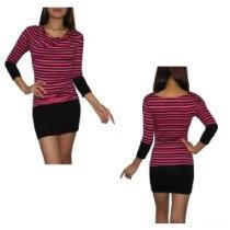 Womens Sexy Me Thai Exotic Sexy Stretchy Fit Clubwear Mini Dress - Pink & Black
