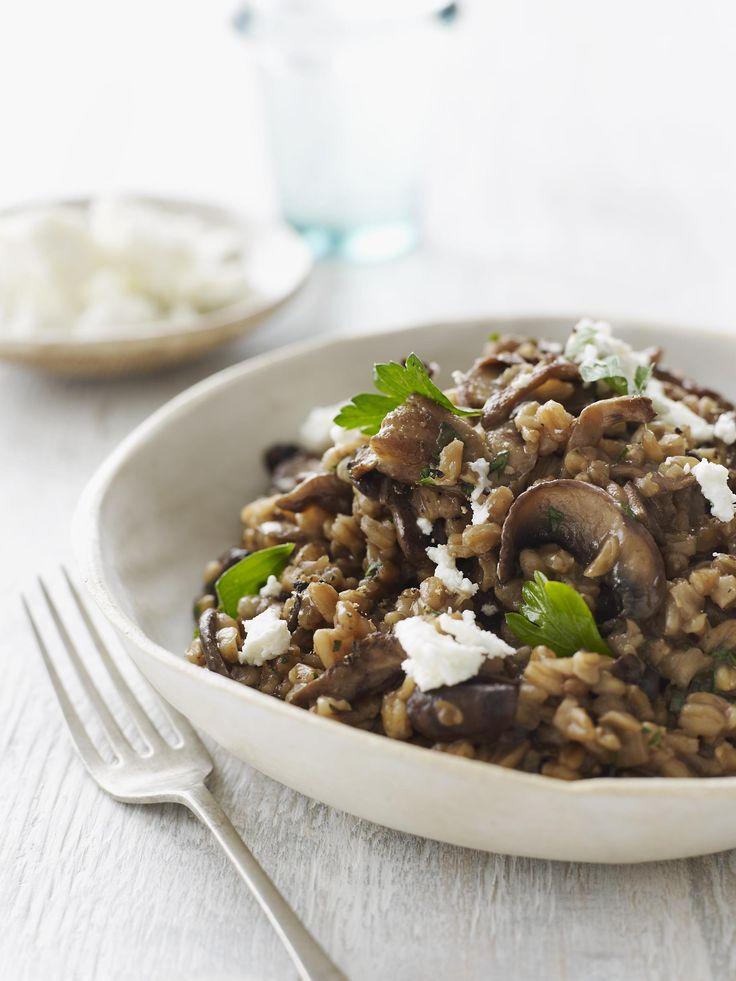 Wild Mushroom Farro Risotto (Farrotto) #healthy #healthyfamilydinners