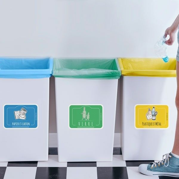 Etiquettes Autocollantes Pour Poubelles De Tri Selectif En 2020 Tri Selectif Poubelle Tri Poubelle Recyclage