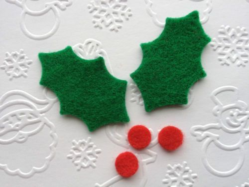 15 Felt Holly Leaves die cut appliques with berries for card toppers cardmaking scrpbooking christmas craft on Etsy, £3.35