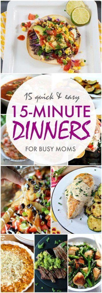15 Quick and Easy Meal Ideas in 15 Minutes or Less! Homemade Recipes for your busy family!