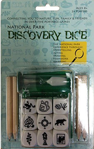 National Park Discovery Dice Game. Game playing is part of every birthday party, right? It is also a great way to get kids and adults ready to experience the National Parks as well as alternatives to outdoor activities if the weather turns bad during your stay. We found awesome educational games for kids, coloring books for everyone as well as cards, dice, puzzles, board games and more!