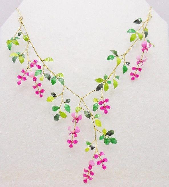 秋の流れを胸元に~萩の花のネックレス~   装生のハンドメイドアクセサリー