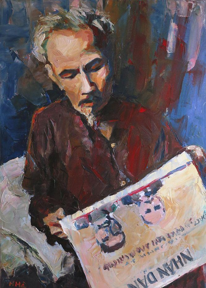 HCM read Nhan Dan newspapers, 60 x 80 cm, oil on canvas - Hoang Ha