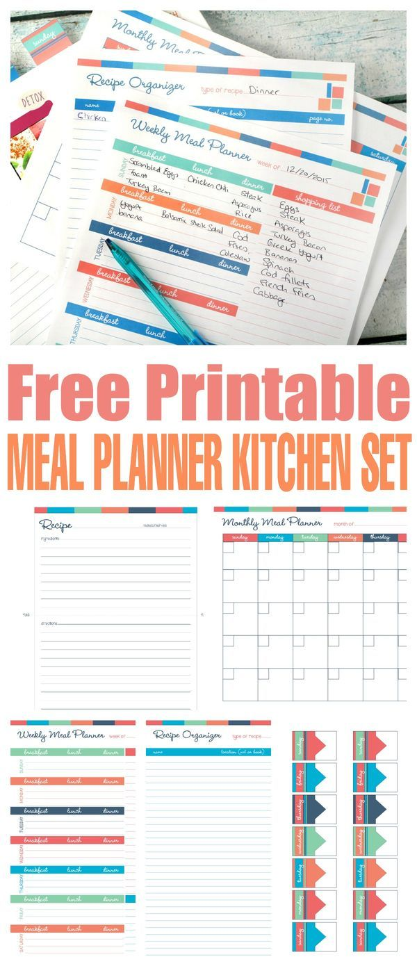 Free Printable Meal Planner Kitchen Set                                                                                                                                                      More