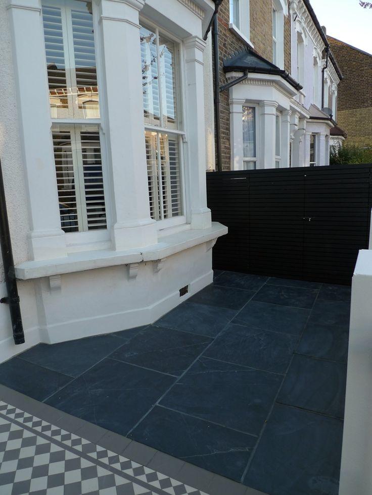 mosaic-path-slate-paving-bespoke-bin-store-london-front-garden.jpg blue/black slate tiles #Slate #paving