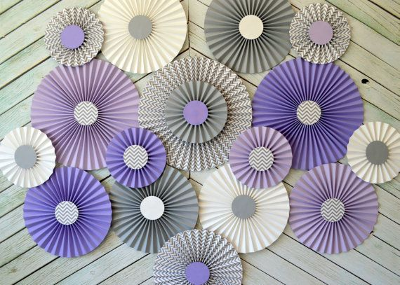 Purple Lavender and Gray Rosettes by The Papier Studio..these are gorgeous..would love to know how to make something this cool