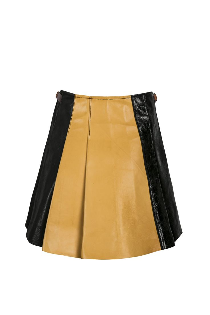 Sylwia Rochala, aw2015, Pupilla buckle caramel / black skirt (back). To download high or low resolution product images view Mondrianista.com (editorial use only).
